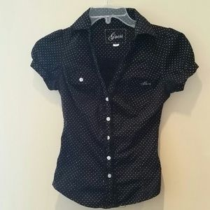 Guess Button-Up Polka Dotted Top EUC